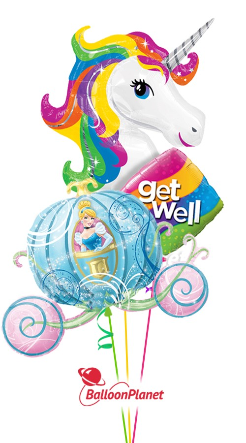 Princess Wishes IGet Well Balloon Bouquet (3 Balloons)