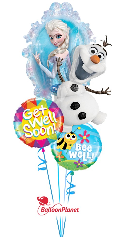 Greetings from FrozenGet Well Balloon Bouquet (4 Balloons)