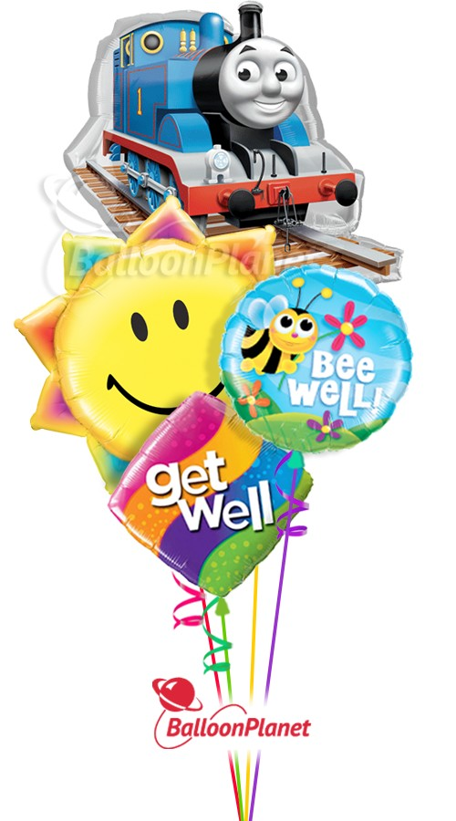 Thomas The Tank TrainGet Well Balloon Bouquet (4 Balloons)
