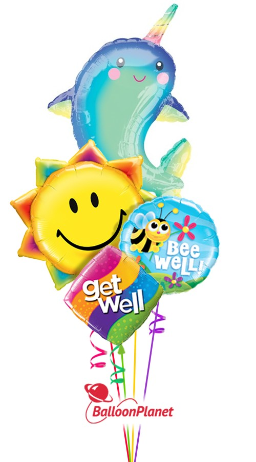 Get Whale NarwhalGet Well Balloon Bouquet (4 Balloons)