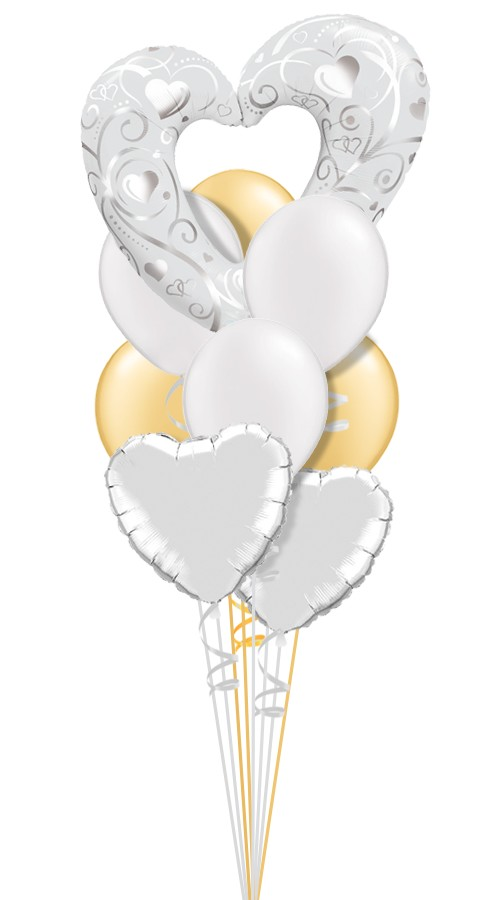 Filigree Open Heart IBridal Balloon Bouquet (9 Balloons)