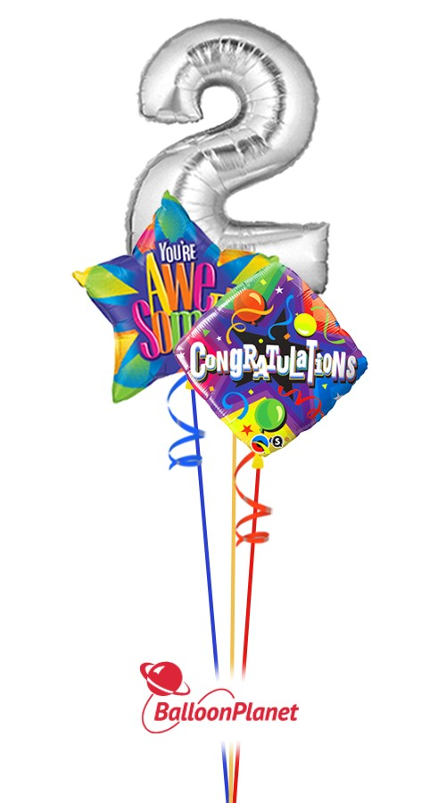 1-Digit Career AnniversaryBalloon Bouquet (3 Balloons)