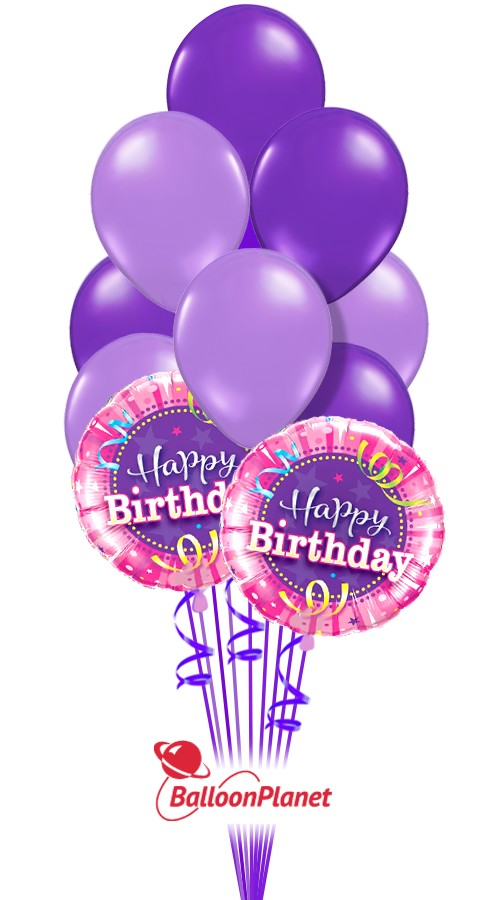 Fave Colors Purple Mix Birthday Balloon Bouquet 12