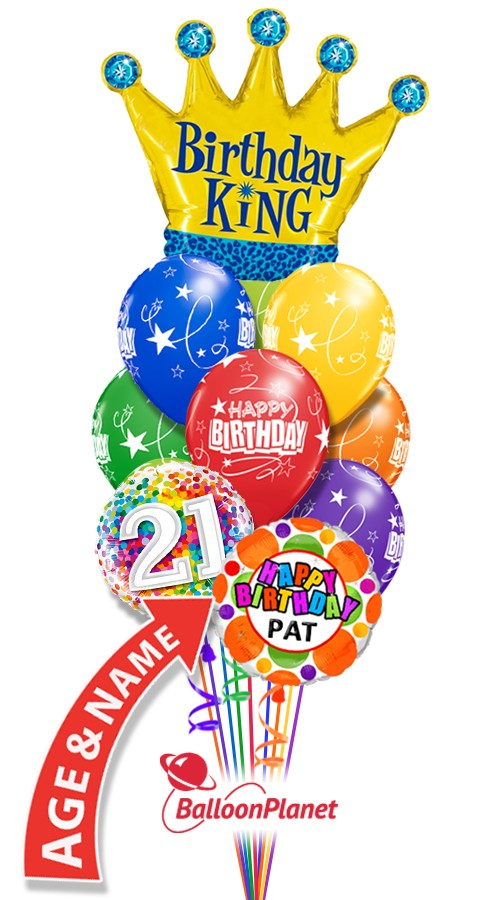 Custom Age & NameBirthday KingBalloon Bouquet (12 Balloons)
