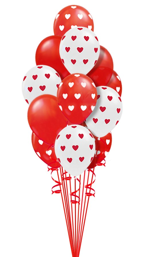 Hearts Around LatexBalloon Bouquet (16 Balloons)