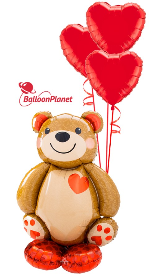 Teddy Bear AirLoonzBe My Valentine Bouquet (2 Balloons)