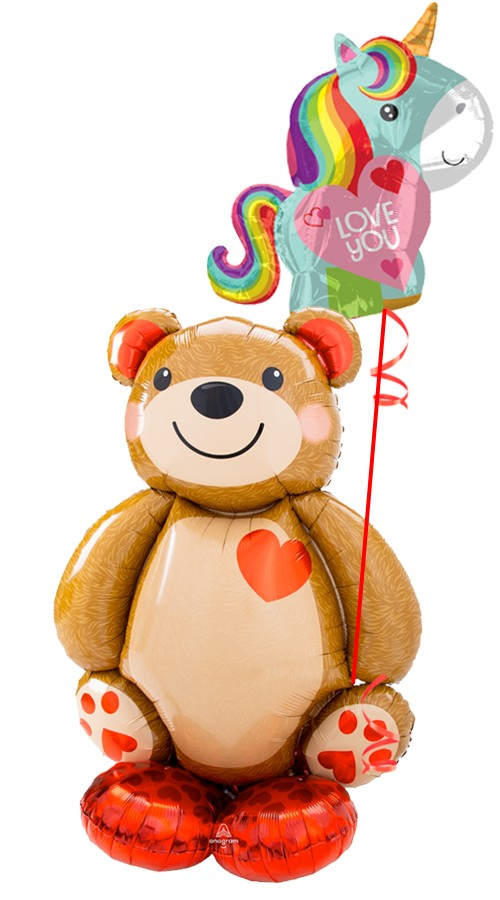 Teddy Bear AirLoonzUnicorn Love Bouquet (2 Balloons)