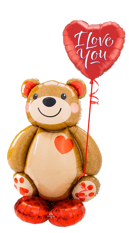 Teddy Bear AirLoonzI Love You Bouquet (2 Balloons)