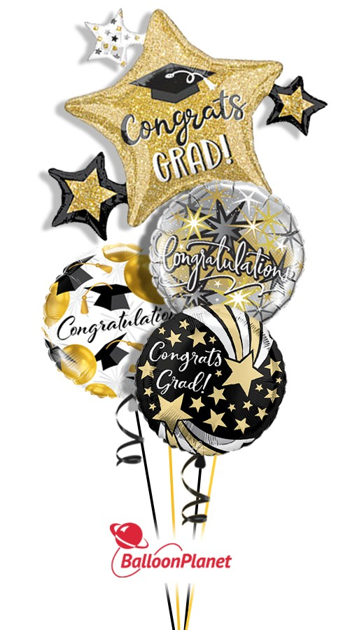 Grad Star ClusterNot PersonalizedBalloon Bouquet (4 Balloons)
