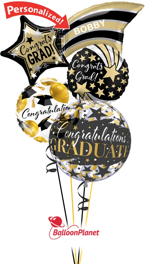 Grad Shooting StarPersonalized NameBalloon Bouquet (4 Balloons)