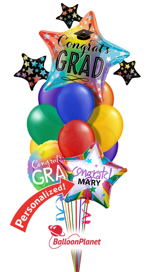 Grad Star ClusterPersonalized NameBalloon Bouquet (12 Balloons)