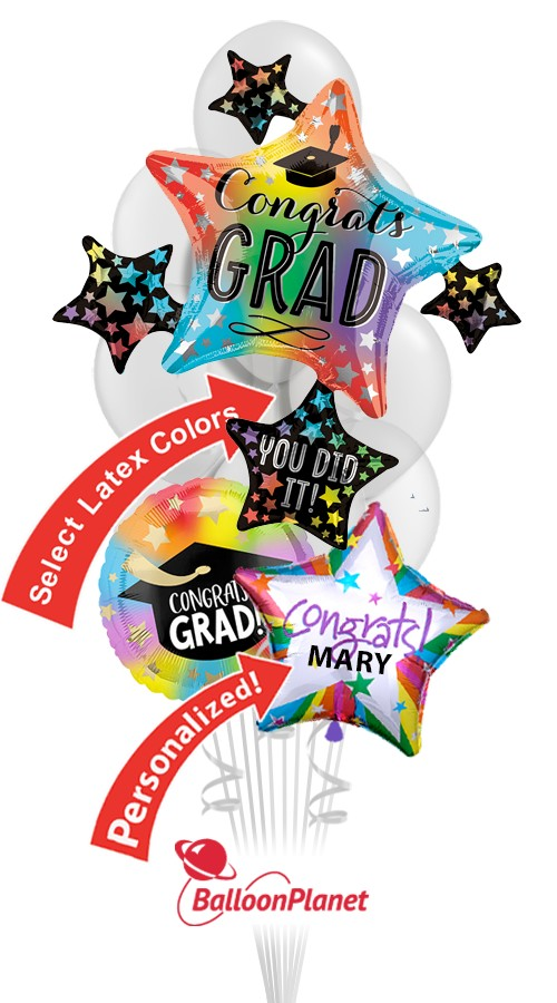 Grad Star ClusterSelect School ColorsPersonalized NameBalloon Bouquet (12 Balloons)