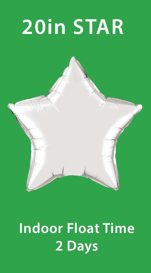 20in Mylar Star<br> 7ft Ribbon Tether(Click for Colors)