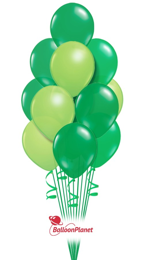 St Patrick's Day Shades of Green Balloon Bouquet (17 Balloons)