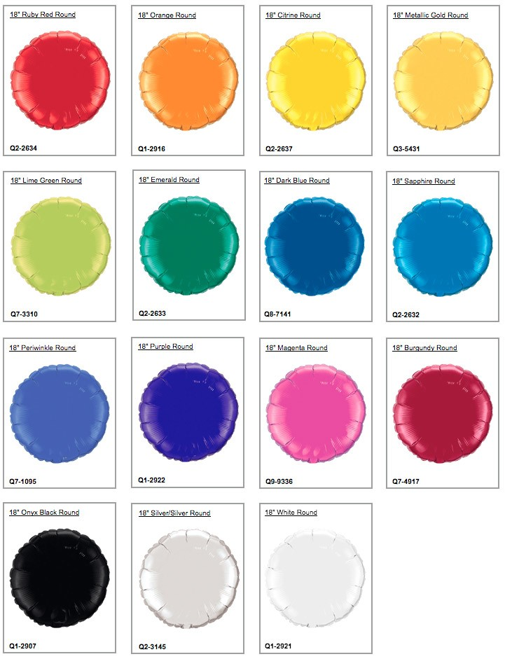 Mylar Rounds 18-Inch (Special Colors)
