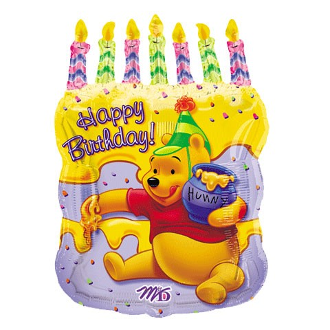 23-INCH POOH BIRTHDAY CAKE BALLOON. Add this helium-filled balloon to your