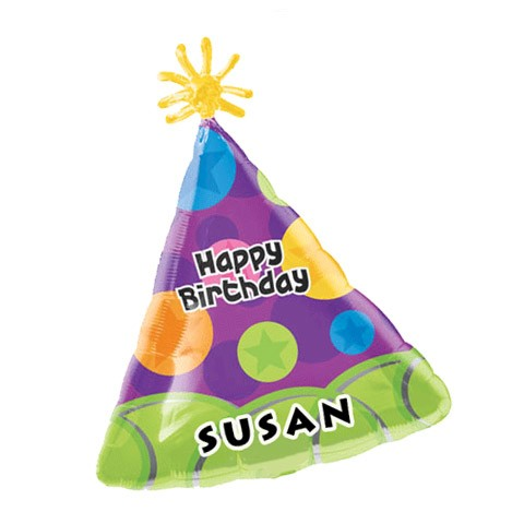 Birthday NAME (Party Hat Balloon)