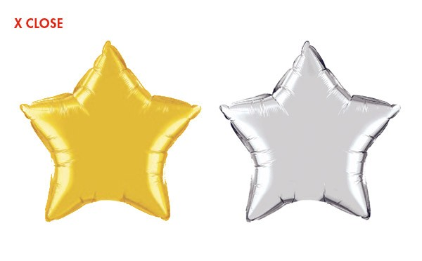36in Mylar Star<br> 7ft Ribbon Tether(Gold or Silver)