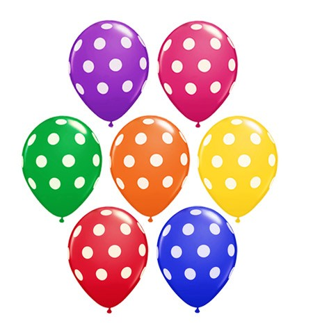 Big Polka Dot 16in (Jewel Tone w/Hi-Float) (Price Per Balloon)