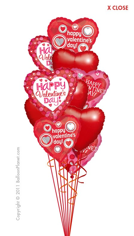 Valentine Hearts Balloon Bouquet (12 Balloons). Item VAL-605