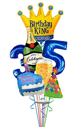 Custom King Balloon Bouquet (7 Balloons)