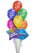 Classic Birthday Prints Balloon Bouquet (9 Balloons) delivered in Melbourne