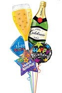 Champagne Birthday Balloon Bouquet (5 Balloons) delivered in Newark