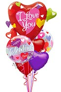 Valentine's Day Colorful Hearts Balloon Bouquet (6 Balloons) delivered in East Meadow