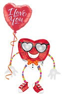 Valentine's Day Heartthrob Airwalker Balloon Bouquet (2 Balloons) delivery in Los Angeles