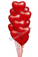 Valentine's Day Hearts Simply Red Hearts Balloon Bouquet (12 Balloons) delivery in Los Angeles