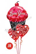 Valentine's Day Jr Sweet Cupcake Balloon Bouquet (3 Balloons) delivered in Milwaukee