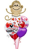 Valentine's Day Love Monkey Kisses Balloon Bouquet (6 Balloons) delivered in Arlington