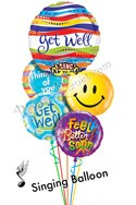Singing Get Well Balloon Bouquet (5 Balloons) delivered in Tampa