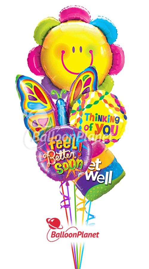 Butterfly and Flower Get Well Balloon Bouquet (5 Mylars) - Balloon ...