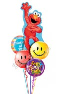 Elmo Smiles Balloon Bouquet (5 Mylars) delivered in East Meadow
