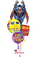 Superman Smiles Balloon Bouquet (5 Mylars) delivered in Denver