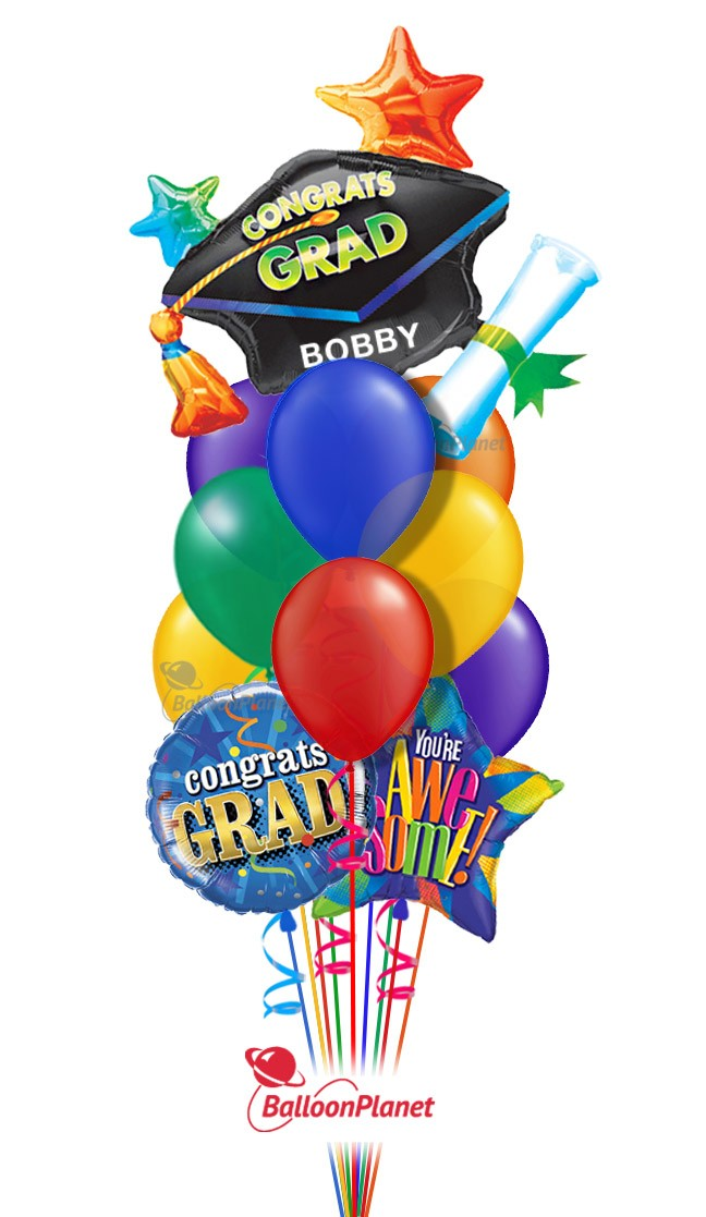 Graduation Balloon Bouquets Delivery by BalloonPlanet.