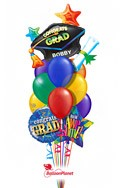 Grad Cap Rainbow Balloon Bouquet (12 Balloons) delivered in Boston