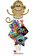 Go Ape Grad! Balloon Bouquet (5 Balloons)See Monkey Notice! delivered in Oklahoma City