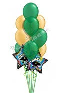 Green & Gold Grad Balloon Bouquet (12 Balloons) delivered in Pittsburgh