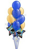 Blue & Gold Grad Balloon Bouquet (12 Balloons) delivered in Bloomington