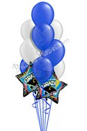 Blue & Silver Grad Balloon Bouquet (12 Balloons) delivery in Rochester
