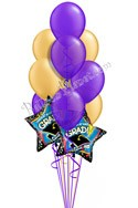 Purple & Gold Grad Balloon Bouquet (12 Balloons) delivery in Rochester