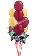 Burgundy & Gold Grad Balloon Bouquet (12 Balloons) delivered in Long Beach
