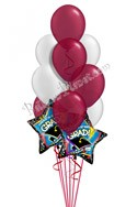 Burgundy & Silver Grad Balloon Bouquet (12 Balloons) delivered in Irvine