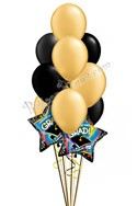 Black & Gold Grad Balloon Bouquet (12 Balloons) delivery in Marietta