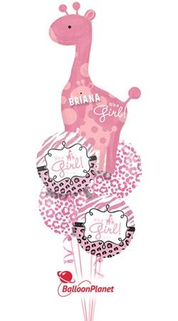 Its A Girl Giraffe Personalized Name Balloon Bouquet