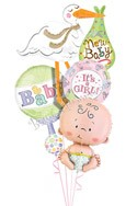 Baby Girl Stork Balloon Bouquet (4 Balloons) delivered in Redondo Beach