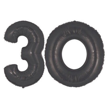 Number 30 Black<br> Balloon