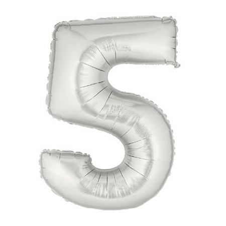 Number 5 Silver<br> Balloon